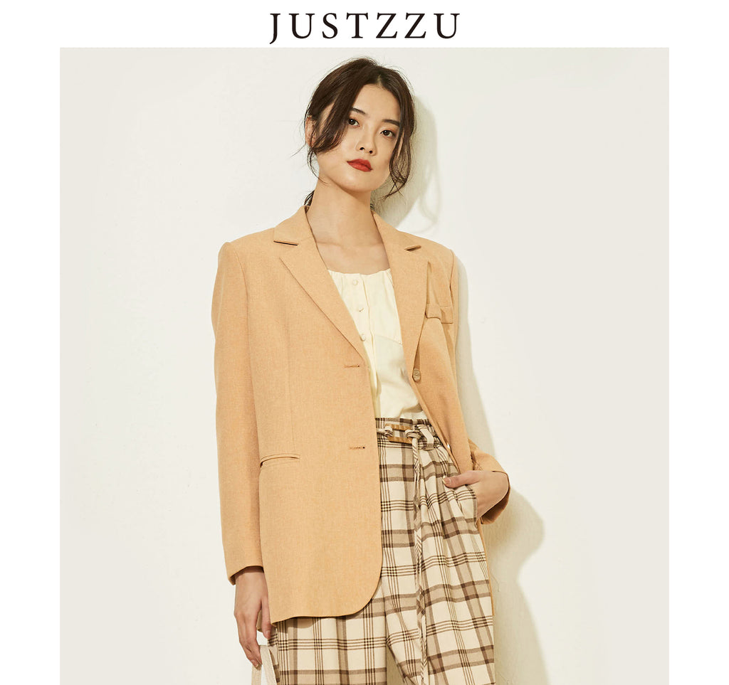 JUSTZZU Women Blazer Work Suit
