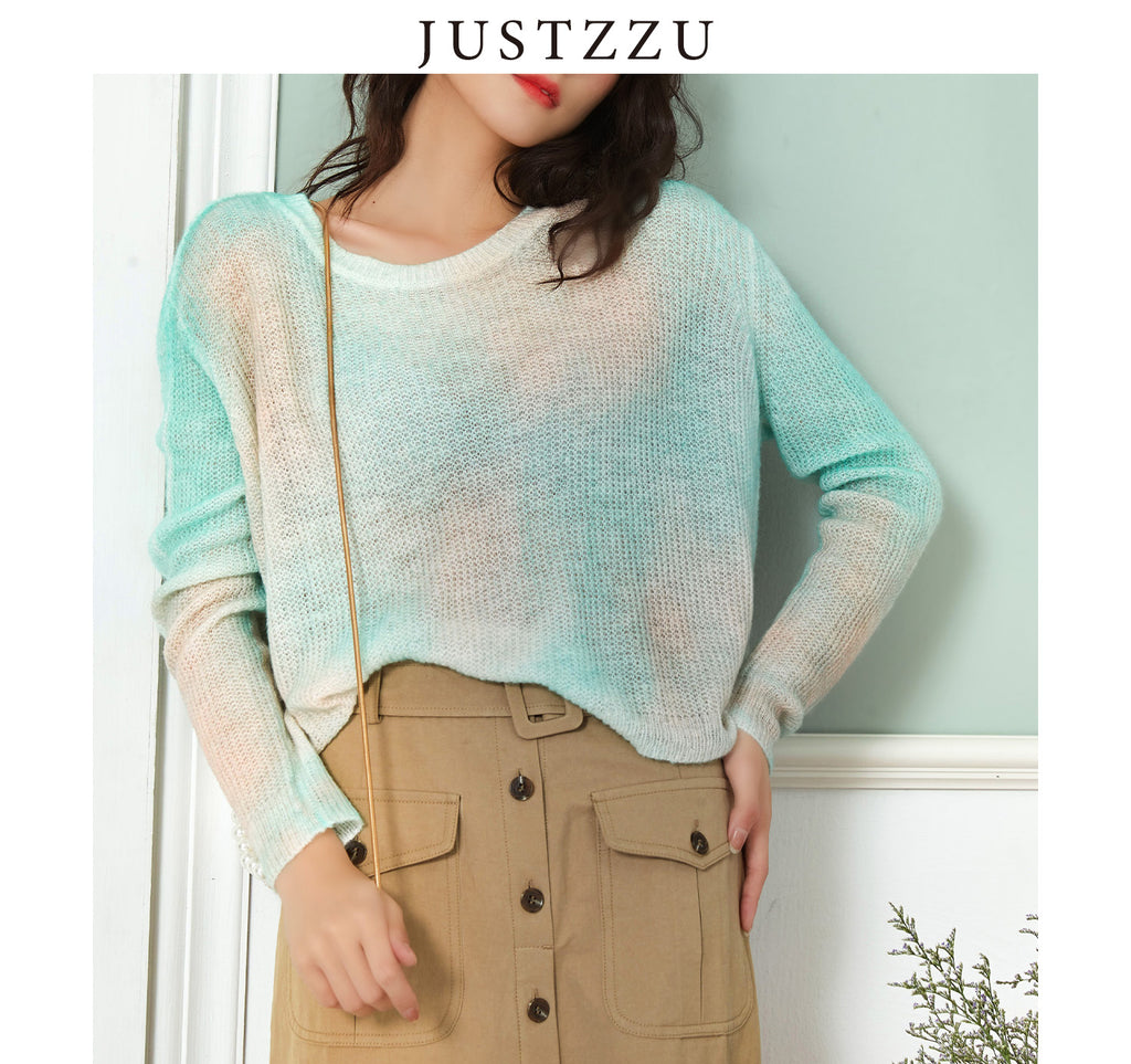 JUSTZZU Contrast Color Knitted Sweater