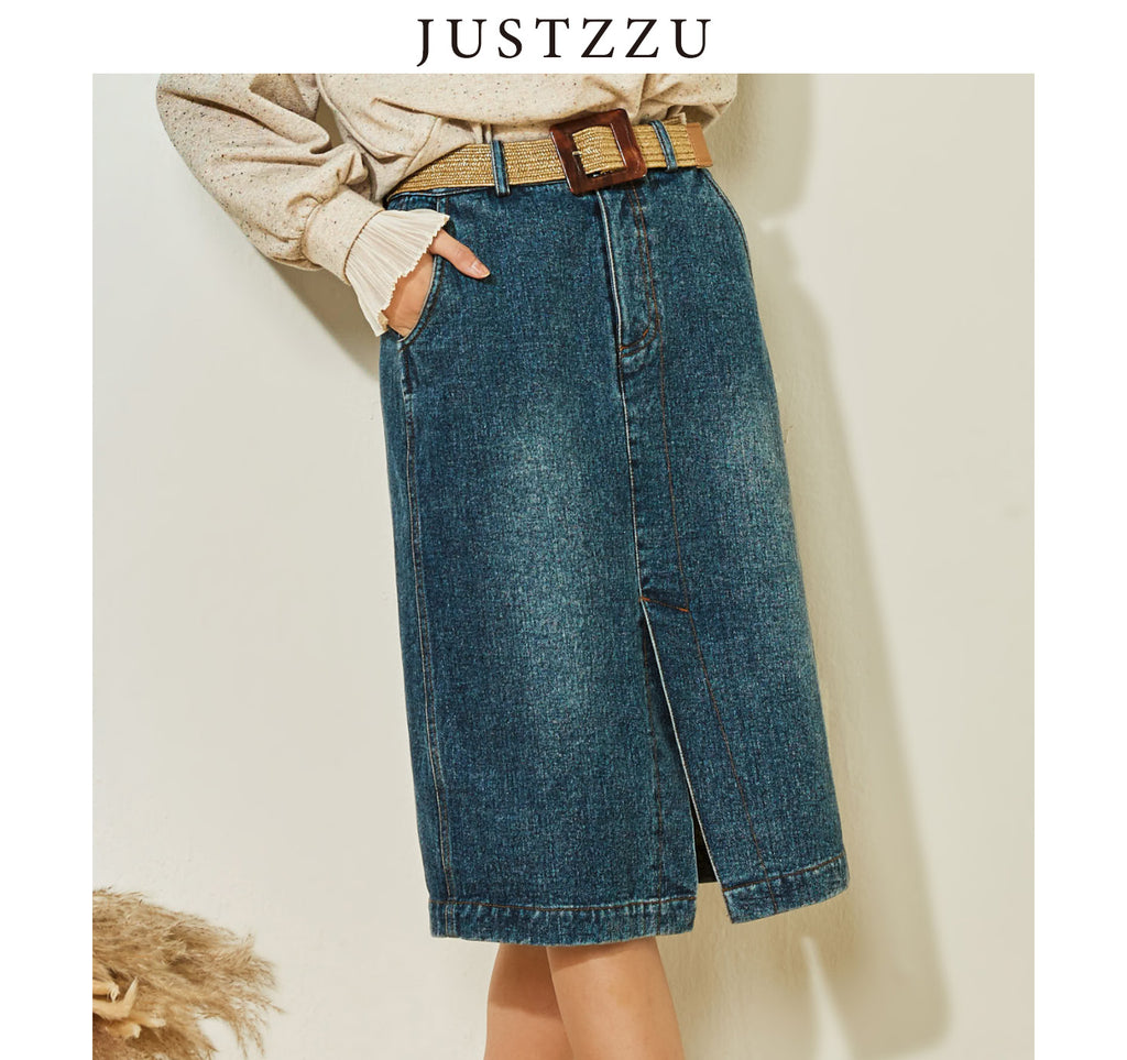 JUSTZZU Designer Women Denim Skirt