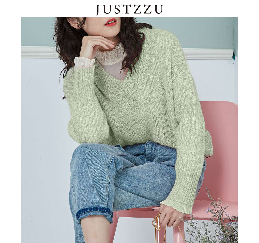 JUSTZZU  Pure Color Knitted Sweater