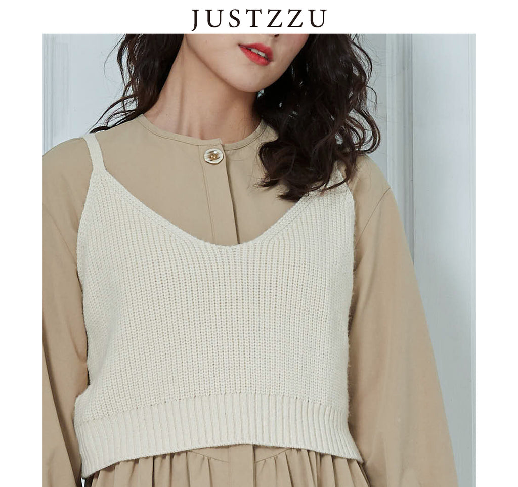 JUSTZZU  Knitted Slip Sweater Jumper