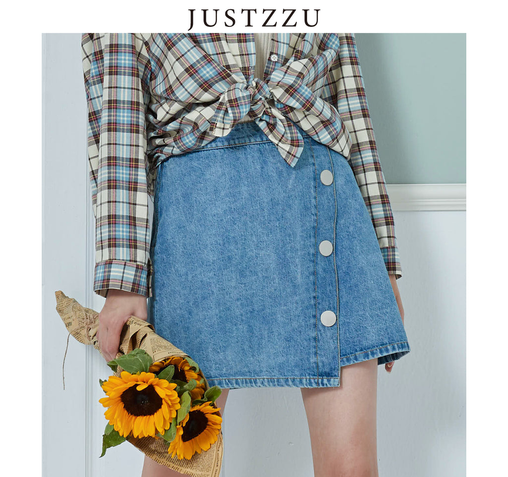 JUSTZZU Denim Mini Skirt