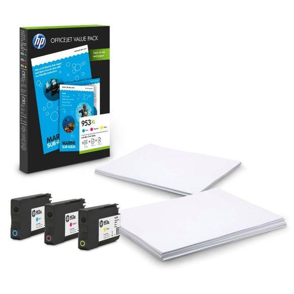 PACK HP 953XL OFFICE - 3 CARTUCHOS TINTA (1X CIAN - 1X MAGENTA - 1X AMARILLO) - 50 HOJAS HP ALL-IN-ONE/A4 - 25 HOJAS PAPEL MATE PROFESIONAL A4 - JSVnet
