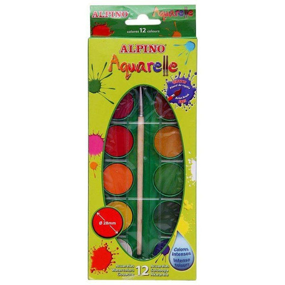 ACUARELAS ALPINO AQUARELLE - 12 COLORES INTENSOS Y BRILLANTES - Ø28mm - PINCEL INCLUIDO - JSVnet