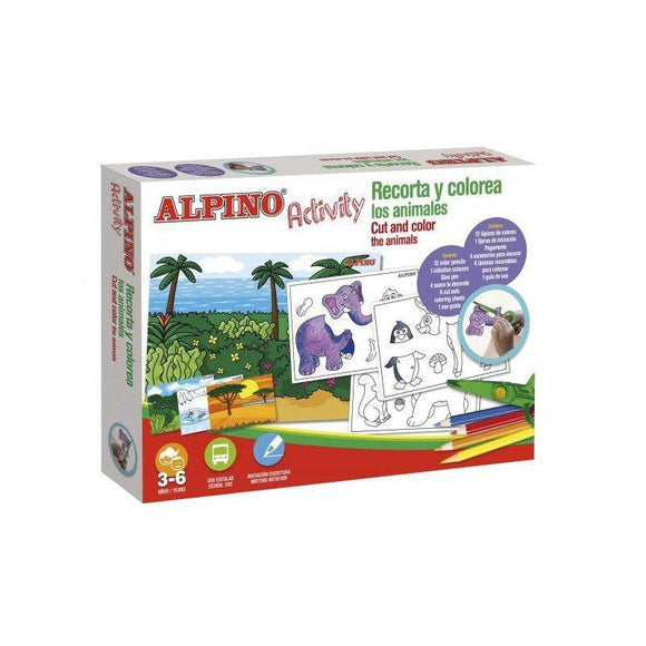 PACK  ALPINO  RECORTA Y COLOREA LOS ANIMALES - 12*LÁPICES COLORES - 1* TIJERA - 1*PEGAMENTO - 4*ESCENARIOS DECORAR - 6*LAM RECORTABLES - - JSVnet