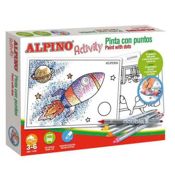 ESTUCHE DE 10 ROTULADORES ALPINO ACTIVITY + 6 LÁMINAS PARA COLOREAR - JSVnet