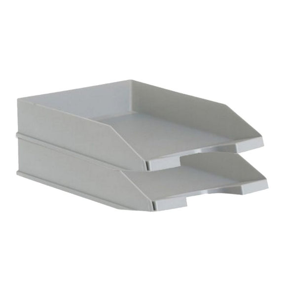 PACK 2 BANDEJAS APILABLES - FONDO LISO - GRIS - 350X258X65 MM - ARCHIVO 2000 - JSVnet