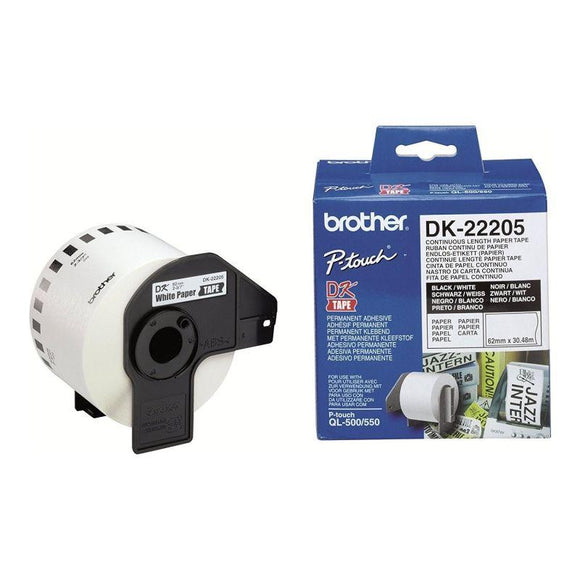 CINTA DE PAPEL CONTINUO BROTHER DK22205 BLANCA 62MM ANCHO X 30.40MM LONGITUD COMPATIBLE CON QL-500/QL-550 - JSVnet