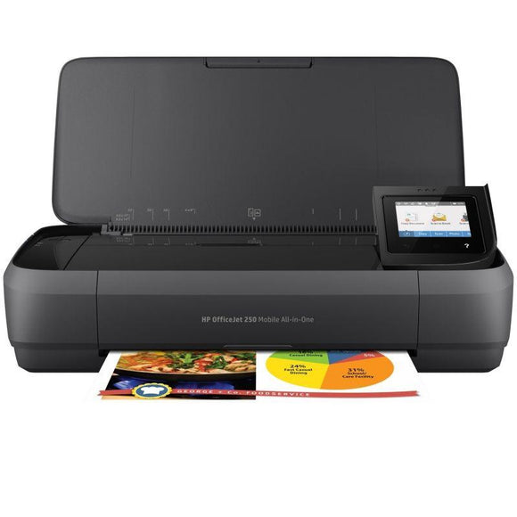 MULTIFUNCIÓN WIFI PORTÁTIL HP OFFICEJET 250 MOBILE AIO - IMPRESIÓN SIN BORDES - SCAN 600PPP - BATERÍA - USB - CART 62 BK/COLOR XL - JSVnet