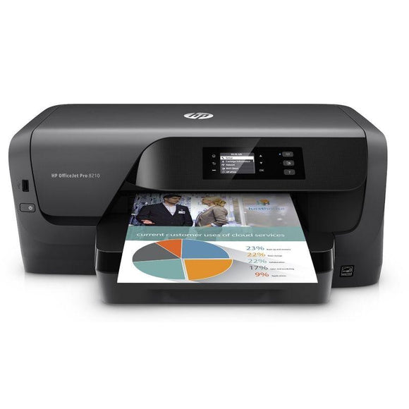 IMPRESORA HP WIFI OFFICEJET PRO 8210 - 22/18 PPM ISO - 1200X1200PPP - DUPLEX - EPRINT/AIRPRINT - USB2.0 - ETHERNET - CART. 953 BK/C/M/Y /XL - JSVnet