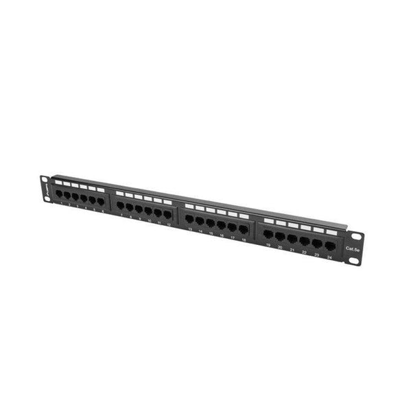 PATCH PANEL LANBERG PPU5-1024-B - 24 PUERTOS - CATEGORIA 5E - 19'/48.26CM - 1U - NEGRO - JSVnet