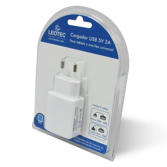 CARGADOR DE PARED LEOTEC LECTABUSBW - PARA TABLET Y SMARTPHONE MÓVIL - 5V / 2A - INCLUYE  2 CABLES 2.5MM + MICRO USB - COLOR BLANCO - JSVnet