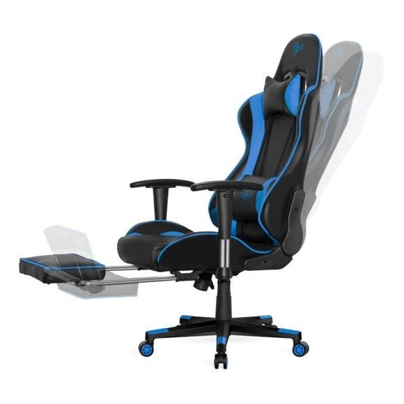 SILLA SPIRIT OF GAMER SIEGE HORNET BLUE - INCLINACIÓN / ALTURA / BRAZOS REGULABLES - REPOSAPIES INCORPORADO - HASTA 120KG - JSVnet