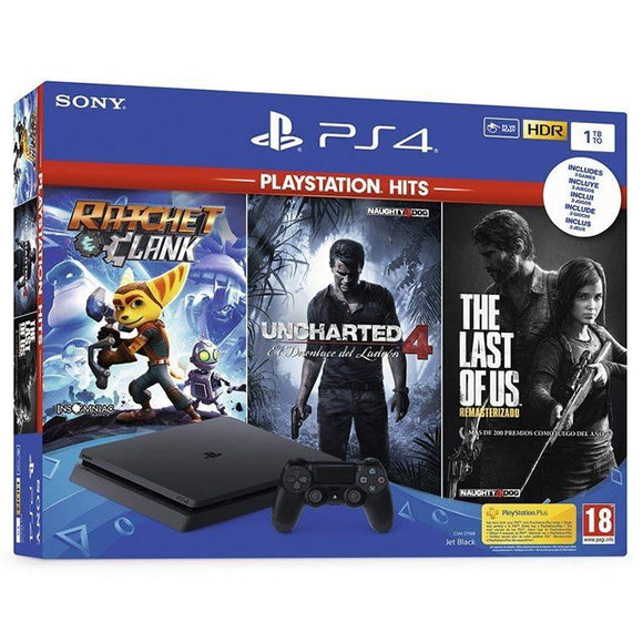 CONSOLA SONY PS4 SLIM 1TB + 3 JUEGOS (RATCHET & CLANK - UNCHARTED 4 - THE LAST OF US) - JSVnet