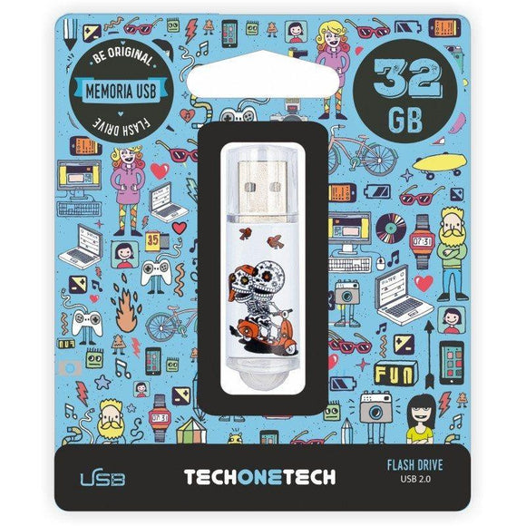 PENDRIVE TECH ONE TECH CALAVERA MOTO 32GB USB 2.0 - JSVnet