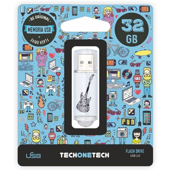 PENDRIVE TECH ONE TECH CRAZY BLACK GUITAR 32GB USB 2.0 - JSVnet