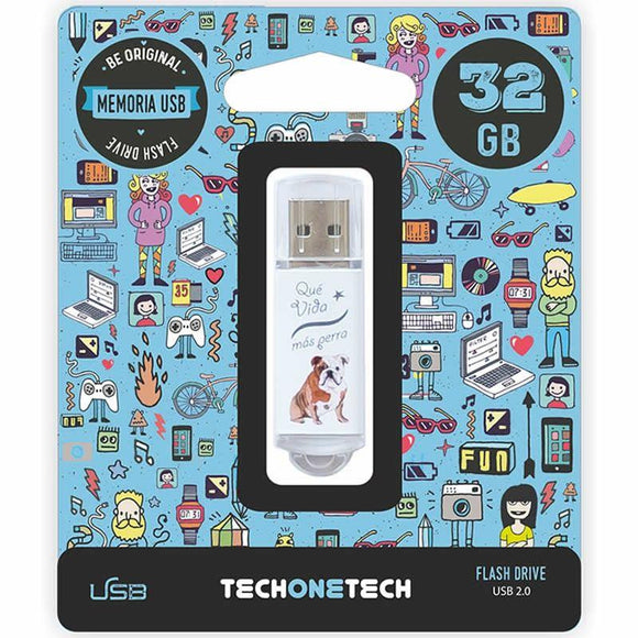 PENDRIVE TECH ONE TECH QUE VIDA MAS PERRA 32GB USB 2.0 - JSVnet