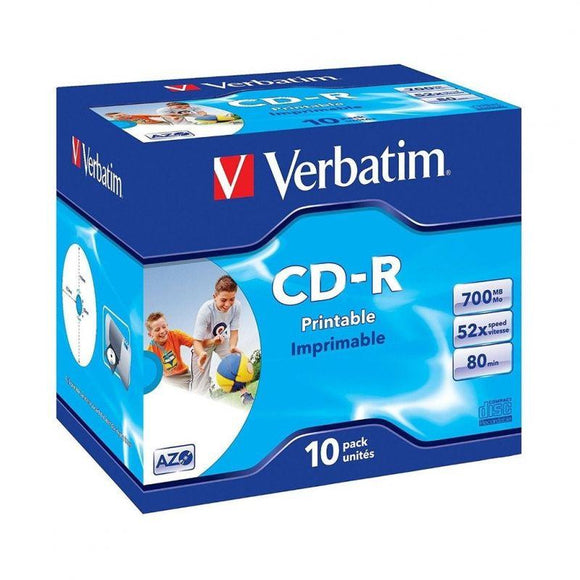 CD-ROM IMPRIMIBLES VERBATIM SUPERAZO WIDE PRINT SURFACE ID 52X 700MB 10 UNIDADES - JSVnet