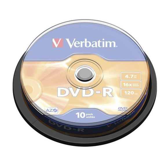 DVD-R VERBATIM ADVANCED AZO 16X 4.7GB TARRINA 10 UNIDADES - JSVnet