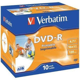 DVD-R VERBATIM IMPRIMIBLE PACK 10 UDS 16X JEWEL CASE - JSVnet
