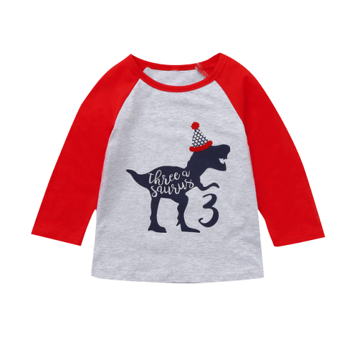 Tee-shirt Dinosaure Enfant <br> Manches Longues <br>Tyrannosaure 3 ans