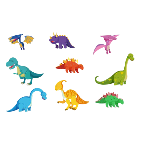Stickers Dinosaure <br> Ensemble Dino Cartoon