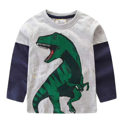 Tee-shirt Dinosaure Enfant <br> Manches Longues <br> Tyrannosaure Vert
