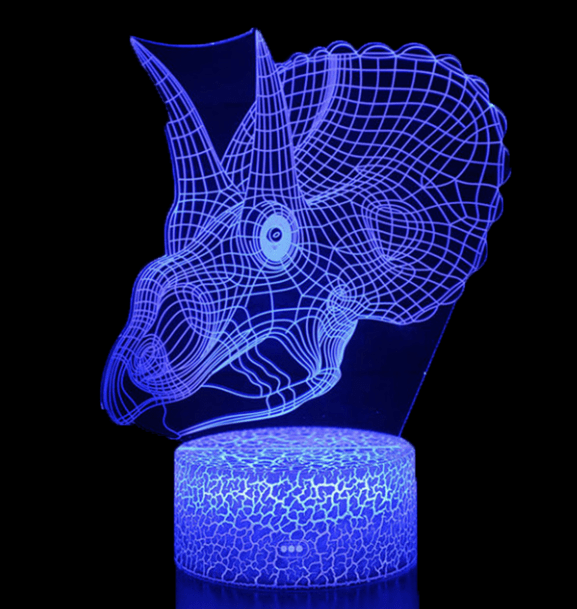 Lampe Dinosaure LED Tricératops Tête