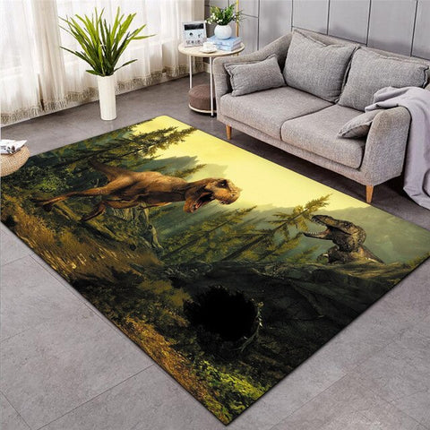 tapis-dinosaure-tyrannosaure-forêt
