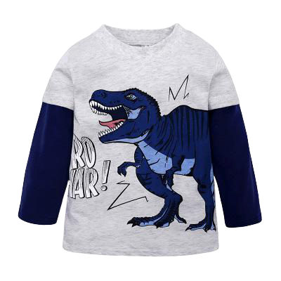 T-shirt Dinosaure Enfant <br> Manches Longues <br> Tyrannosaure Bruyant
