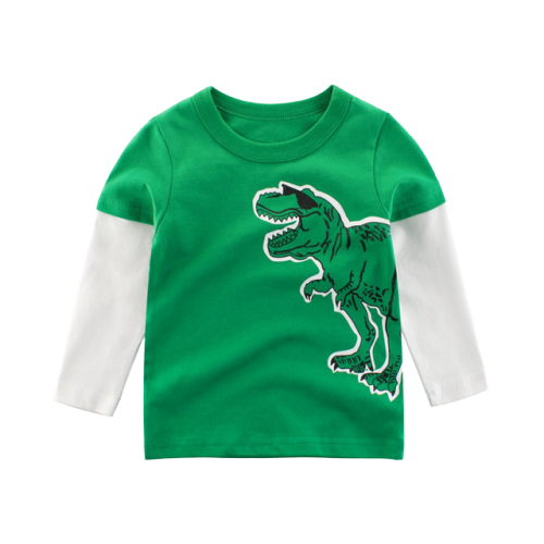 T-shirt Dinosaure Enfant <br> Manches Longues <br> Tyrannosaure Star Vert