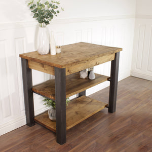Butchers Block Kitchen Island Industrial Breakfast Bar Dining Table Rustic Storage Unit Solid Wood Worktop Steel Coffee Cafe