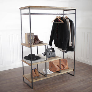 Industrial Open Wardrobe Clothes Rail Rack Reclaimed Wood Display Shoe Storage Shop Garment Hanger Walk In Custom Hanging Retail Stand Heavy