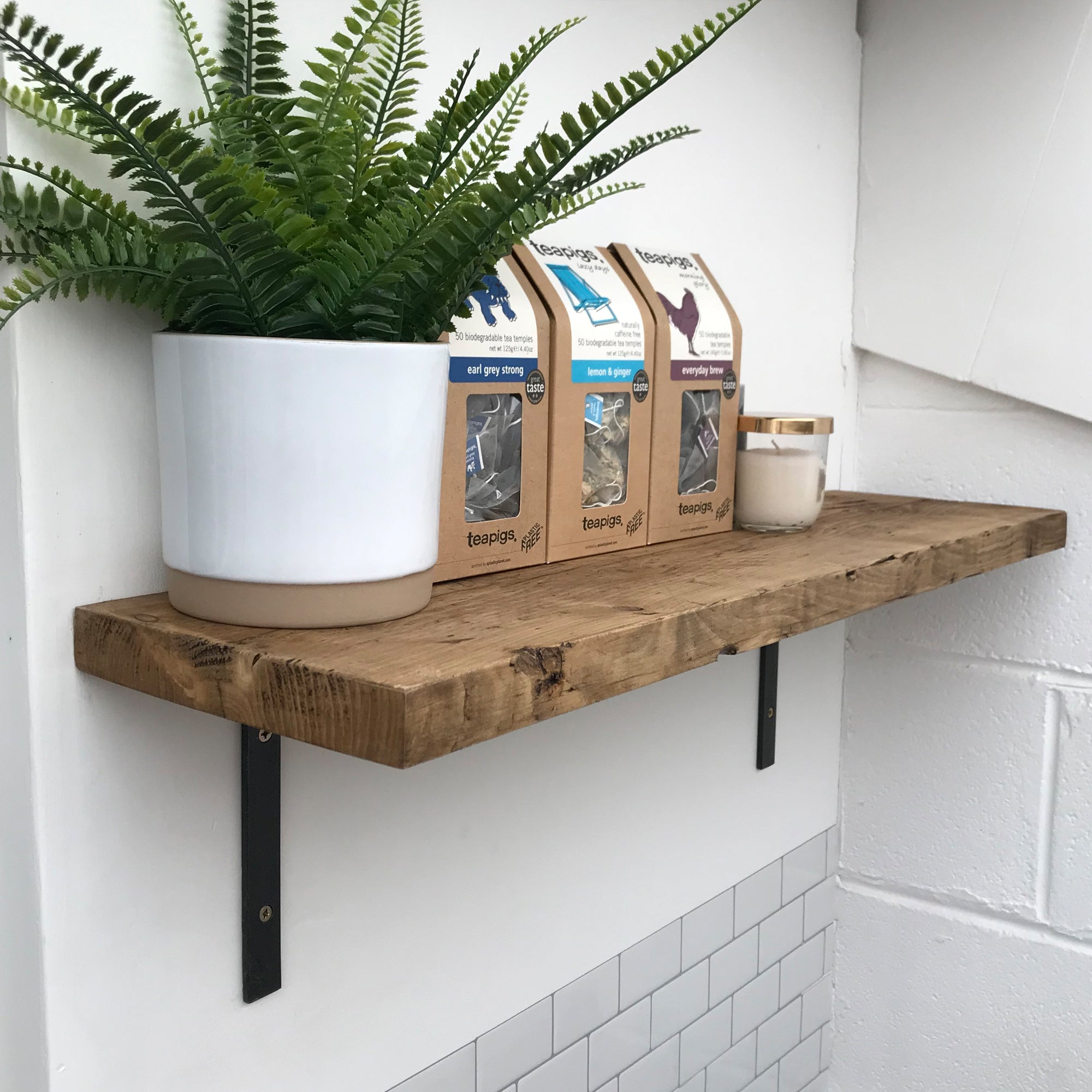 Wooden Shelves Industrial Wall Shelf With Metal Brackets Reclaimed Pin Shabby Bear Cottage