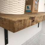 Wooden Shelves Industrial Wall Shelf With Metal Brackets Reclaimed Pine Rustic Kitchen Oak Solid  Shelving Display Restaurant Cafe Made to measure