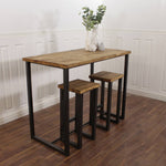 Breakfast Bar Kitchen Worktop Table Solid Wood Stool Set Industrial Reclaimed Butchers Block Island Pine Oak Bench Rustic Steel Metal Seat