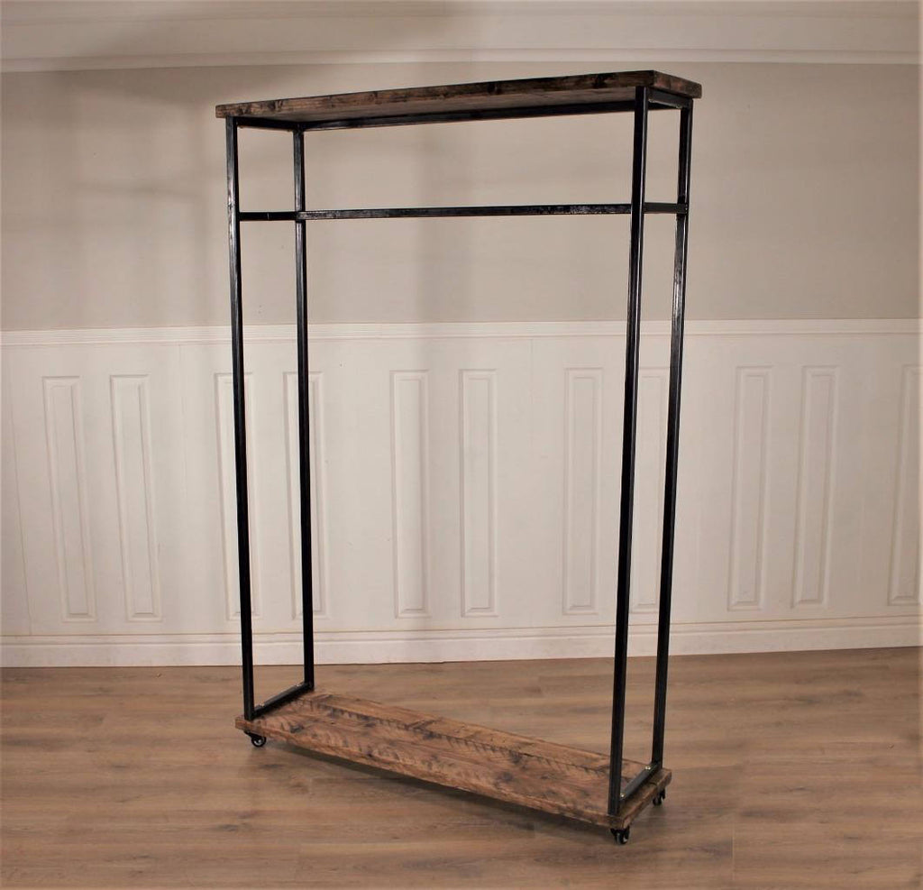 Clothes Hanging Rail  Industrial Wardrobe Display Shelf Shoe Vintage Open Rack Stand Shop Storage Wood Metal Hanger Coat Handmade