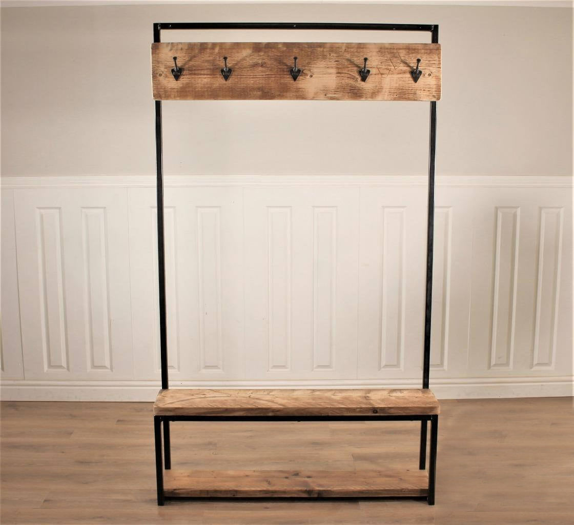 Industrial Hall Stand Coat Rack Storage Shoe Hooks Wood Rustic Reclaim Shabby Bear Cottage