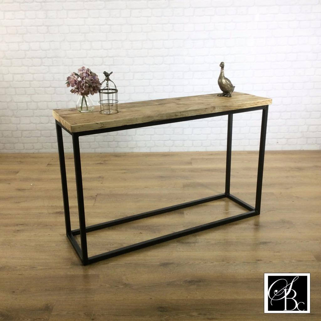 Industrial Entryway Hall Table Shelf Wood Vintage Metal Pine Sideboard Buffet Credenza Rustic Reclaimed Shoe Storage Hallway Entryway Scandi Console