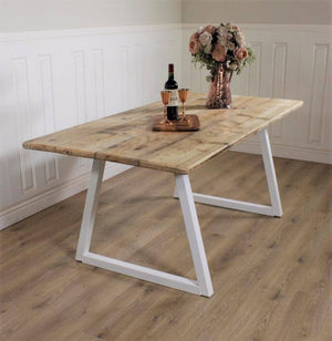 Industrial Dining Table ANY COLOUR base Rustic solid Kitchen Steel Reclaimed Modern Any RAL colour powder coat Handmade in Britain