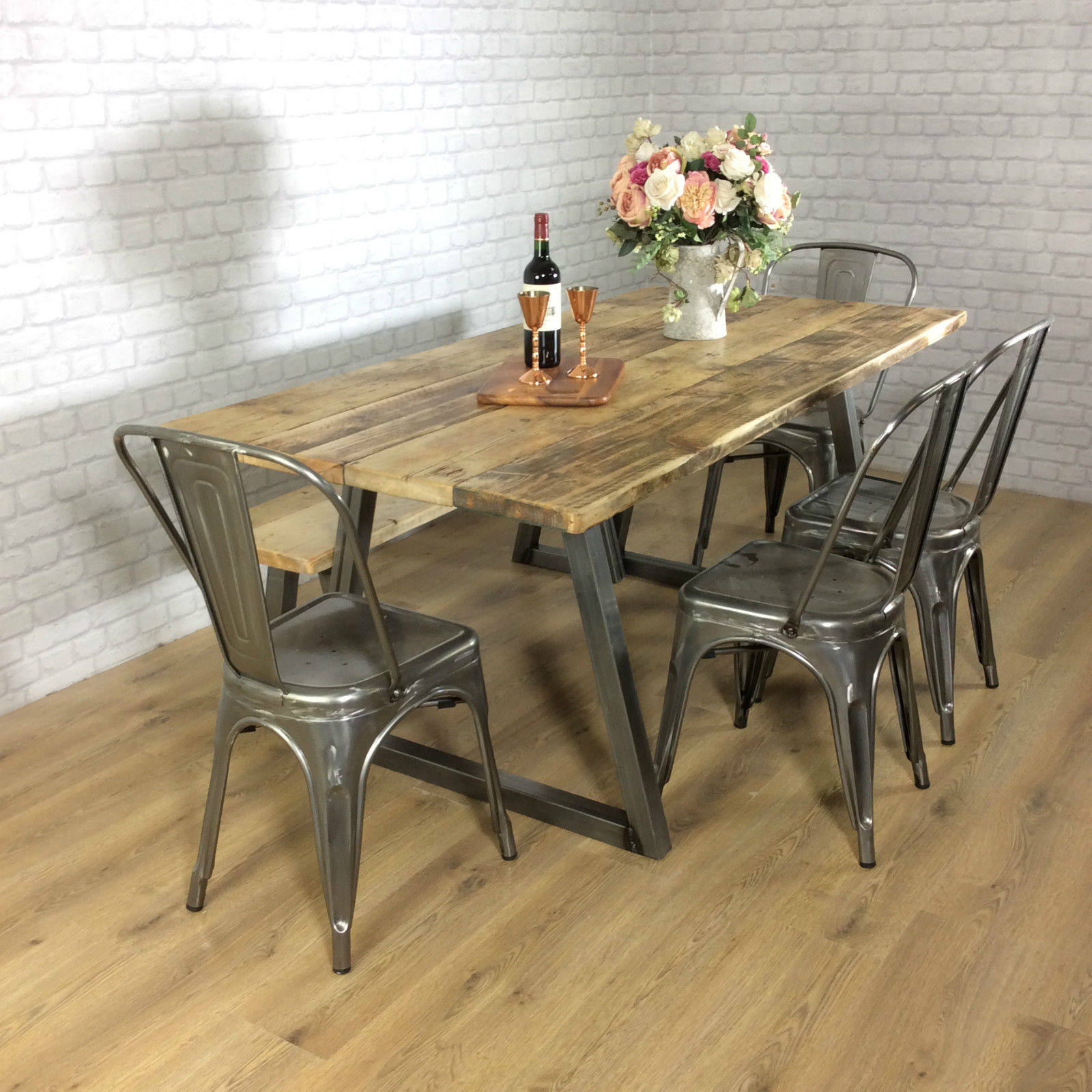 Rustic Dining Table Industrial 6 8 Seater Solid Reclaimed Wood Metal B Shabby Bear Cottage