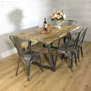 Rustic Dining Table Industrial Steel Reclaimed Wood Room Set Bench Seat Chairs Wooden