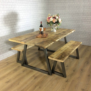 Rustic Dining table Industrial 6 8 Seater Solid Reclaimed Wood Metal Bar Cafe Restaurant Furniture Steel Handmade in Britain ALL SIZES