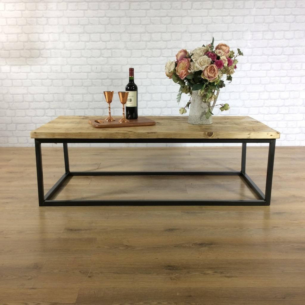 Wood Coffee Table Industrial Solid Reclaimed Rustic Farmhouse Style Plank Top Metal Steel Chunky Handmade in Britain - FREE DELIVERY