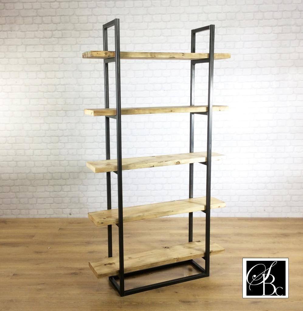 Industrial Retro Bookcase Unit Vintage Metal Reclaimed Solid Wood Storage Pine Oak Metal Shelves Shelf Display Bespoke Handmade in Britain