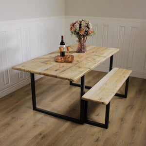 Industrial Dining Table Rustic solid Kitchen Reclaimed Chelsea - Handmade In Britain British Steel Farmhouse Wooden Metal Contemporary