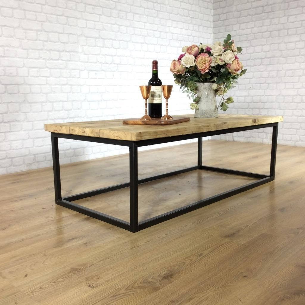 Wood Coffee Table Industrial Solid Reclaimed Rustic Farmhouse Style Pl Shabby Bear Cottage