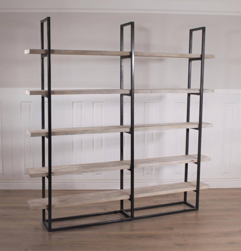 Industrial Scandi Wood Bookcase Bookshelf Shelves Unit Vintage Metal Solid Storage Shelving Shelf Display Rustic Retro FREE DELIVERY