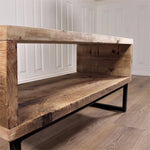 Wooden Industrial TV Unit Stand Cabinet Media wood  32 - 55 inch rustic retro reclaimed pine Handmade in Britain UK Vintage