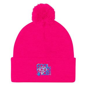 Pom Pom Knit Cap - Cool Hand Ice // blue